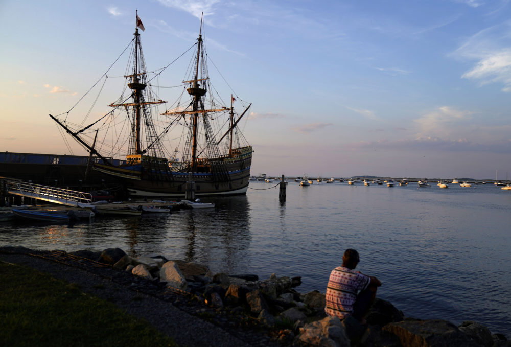 The Mayflower II, a replica of the original Mayflower ship that brought the Pilgrims to America 400 year ago, is docked in Plymouth, Massachusetts, days after returning home this summer following extensive renovations. (David Goldman/AP)