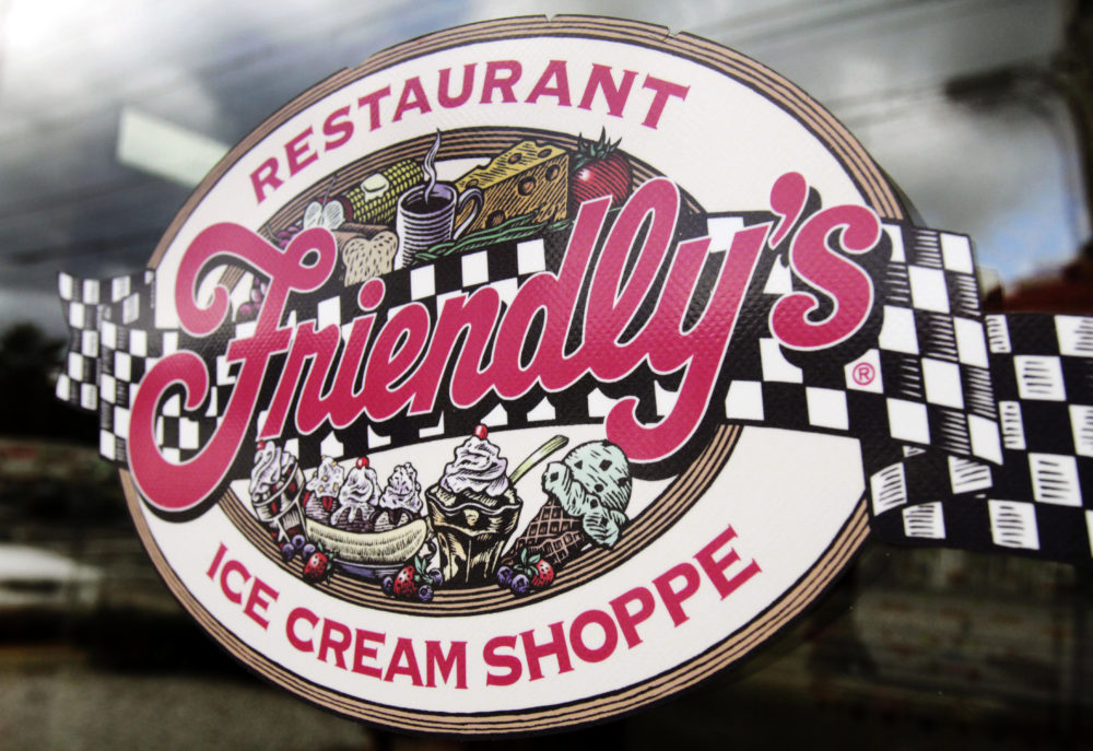 This Oct. 5, 2011 file photo shows a sign displayed on the door at Friendly's restaurant in Brunswick, Maine. Friendly's Restaurant, an East Coast restaurant chain known for its sundaes, is filing for bankruptcy protection. (Pat Wellenbach/AP File)
