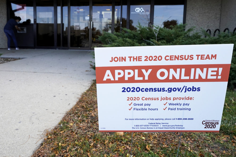 A sign is seen outside of IDES (Illinois Department of Employment Security) WorkNet center in Arlington Heights, Ill., Thursday, Nov. 5, 2020. (Nam Y. Huh/AP)