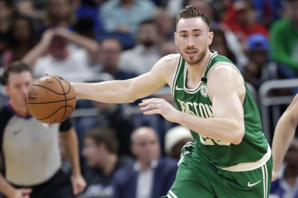 On Jan. 24, 2020, Boston Celtics forward Gordon Hayward moves the ball on a fast break against the Orlando Magic. (John Raoux/AP)