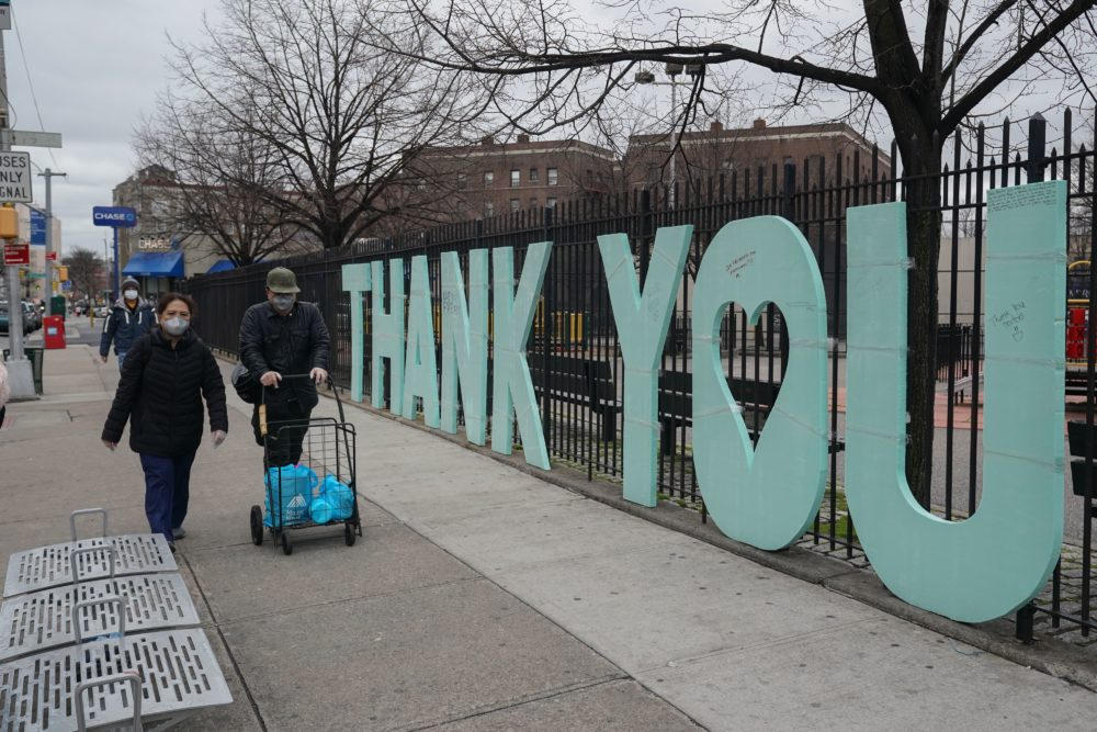 "A ""Thank You"" sign for first responders stands as a fence across the street from Elmhurst Hospital in the Borough of Queens on March 31, 2020 in New York. (Bryan R. Smith/AFP via Getty Images)"