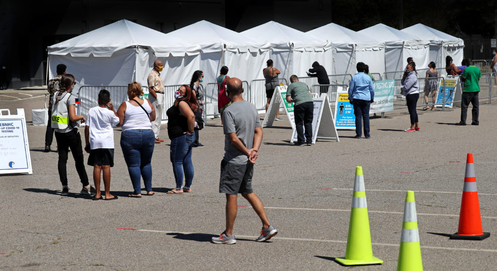 A mobile testing site in Mattapan over the summer. (David L. Ryan/The Boston Globe via Getty Images)