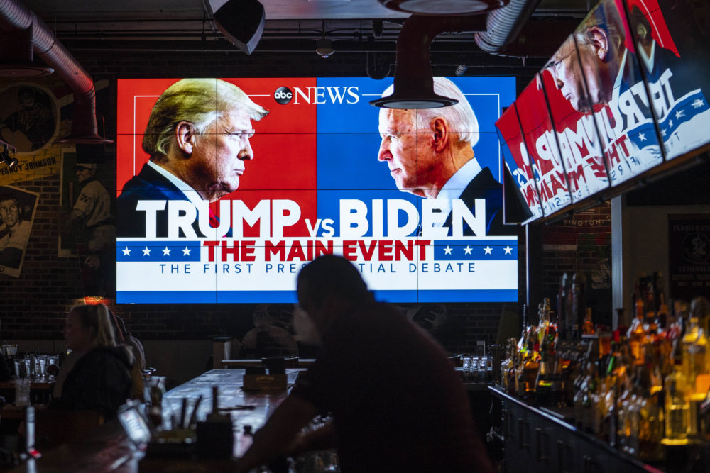 Television screens airing the first presidential debate are seen at Walters Sports Bar on Sept. 29, 2020 in Washington, United States. Americans across the country tuned in to the first presidential debate between Donald Trump and Joe Biden held in Cleveland. (Sarah Silbiger/Getty Images)