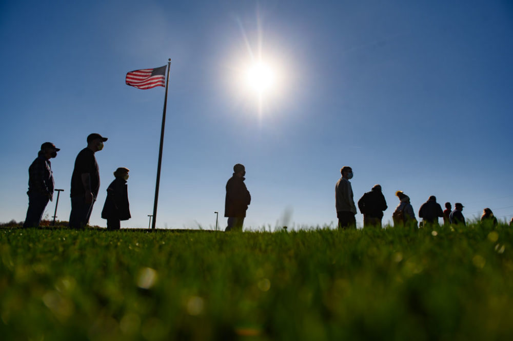 Voters wait to cast their ballots at the Cranberry-Highlands Golf Club on November 3, 2020 in Butler County, Cranberry Township, Pennsylvania. (Jeff Swensen/Getty Images)
