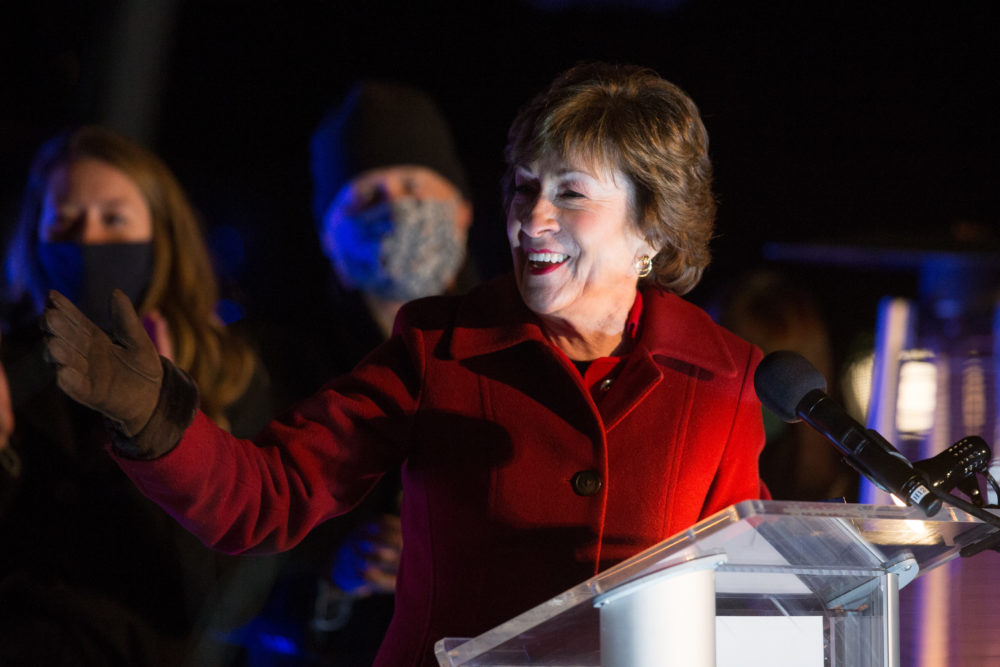 Republican Sen. Susan Collins delivers election night remarks to supporters and staff on Nov. 3, 2020 in Bangor, Maine. (Scott Eisen/Getty Images)