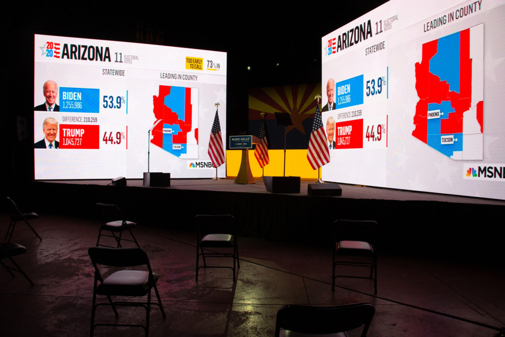 Election results from MSNBC are shown during Democratic Senate candidate Mark Kelly's Election Night event in Tucson, Arizona. Kelly ran against Republican Sen. Martha McSally for Arizona's Senate seat and is hoping to join fellow Democrat Sen. Kyrsten Sinema in the historically Republican state. (Courtney Pedroza/Getty Images)