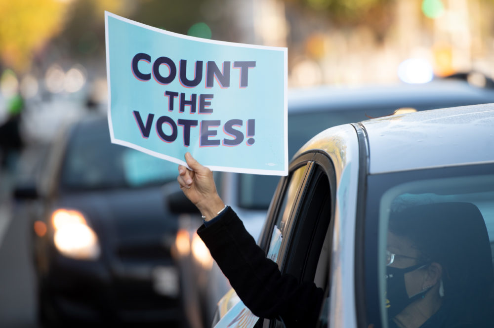 Demonstrators with ShutDown DC hold a protest to promote the counting of votes near the White House in Washington, DC, Nov. 5, 2020. (Saul Loeb/AFP via Getty Images)