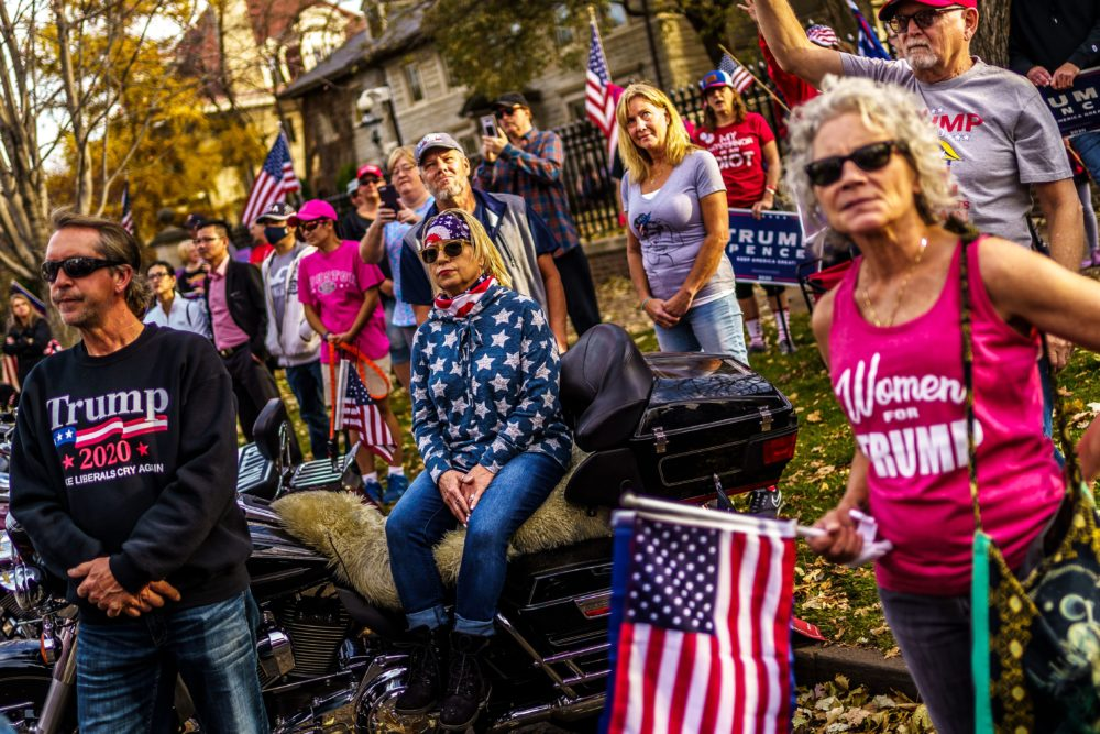 Supporters of President Donald Trump protest in front of the residence of Minnesota Governor Tim Walz in St. Paul, Minnesota, on Nov. 7, 2020. (Kerem Yucel/AFP via Getty Images)