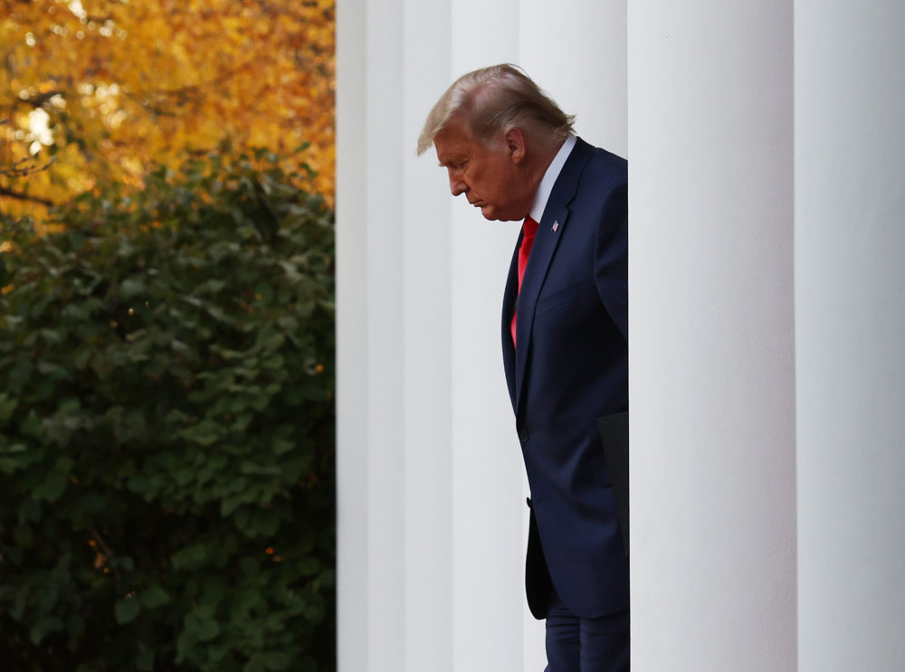President Donald Trump walks up to speak about Operation Warp Speed in the Rose Garden at the White House on November 13, 2020 in Washington, DC. (Tasos Katopodis/Getty Images)