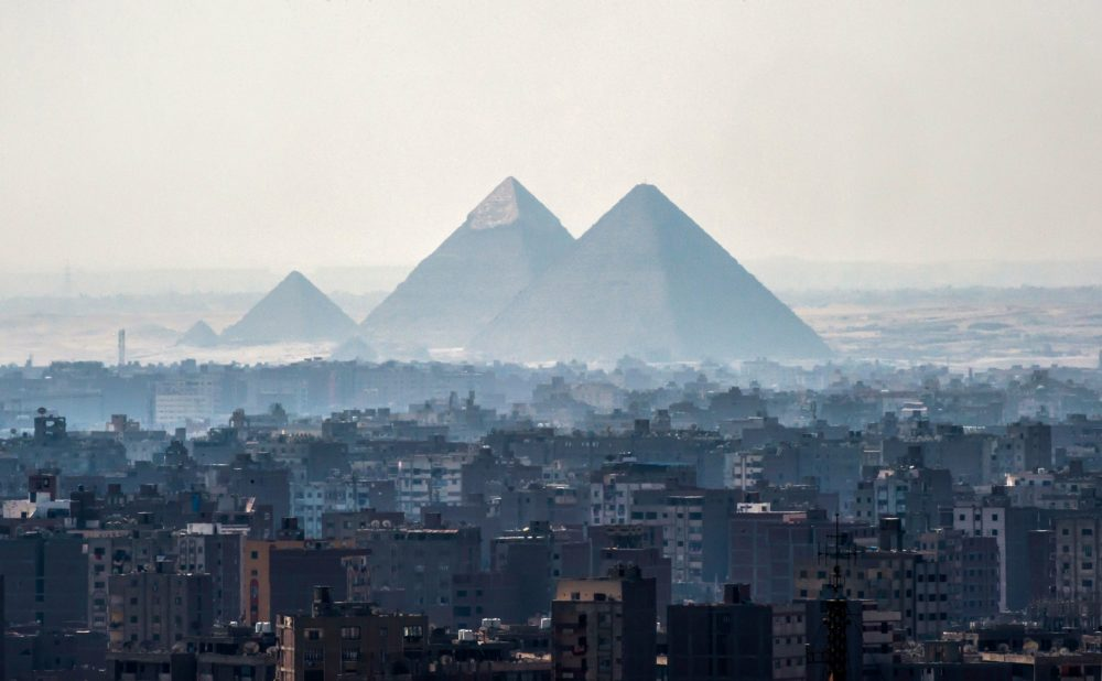 A picture taken on Feb. 28, 2018 shows a view of the Pyramids of Giza on the southwestern outskirts of the Egyptian capital Cairo. (Khaled Desouki/AFP via Getty Images)