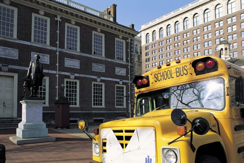A school bus outside of Independence Hall in Philadelphia, Pennsylvania. (Sylvain Grandadam/Gamma-Rapho via Getty Images)