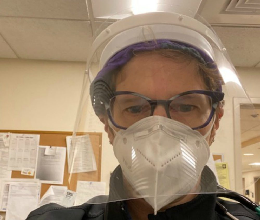 Dr. Pamela Adelstein wearing a mask and face shield. (Courtesy)