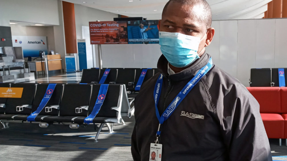 """During a busy week for travel and a worsening coronavirus outbreak, Mario Seide of Everett says, """"I have no choice but to work."""" [Courtesy Mario Seide]"""