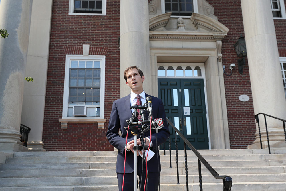 Jake Auchincloss addresses the media after he is declared the winner of the 4th Congressional District primary race in September. (Suzanne Kreiter/The Boston Globe via Getty Images)