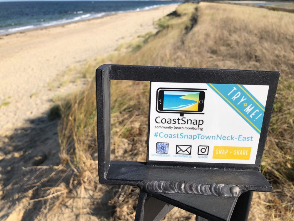 A CoastSnap phone cradle on Town Neck Beach in Sandwich. (Courtesy Stephanie Murphy/Woods Hole Sea Grant)