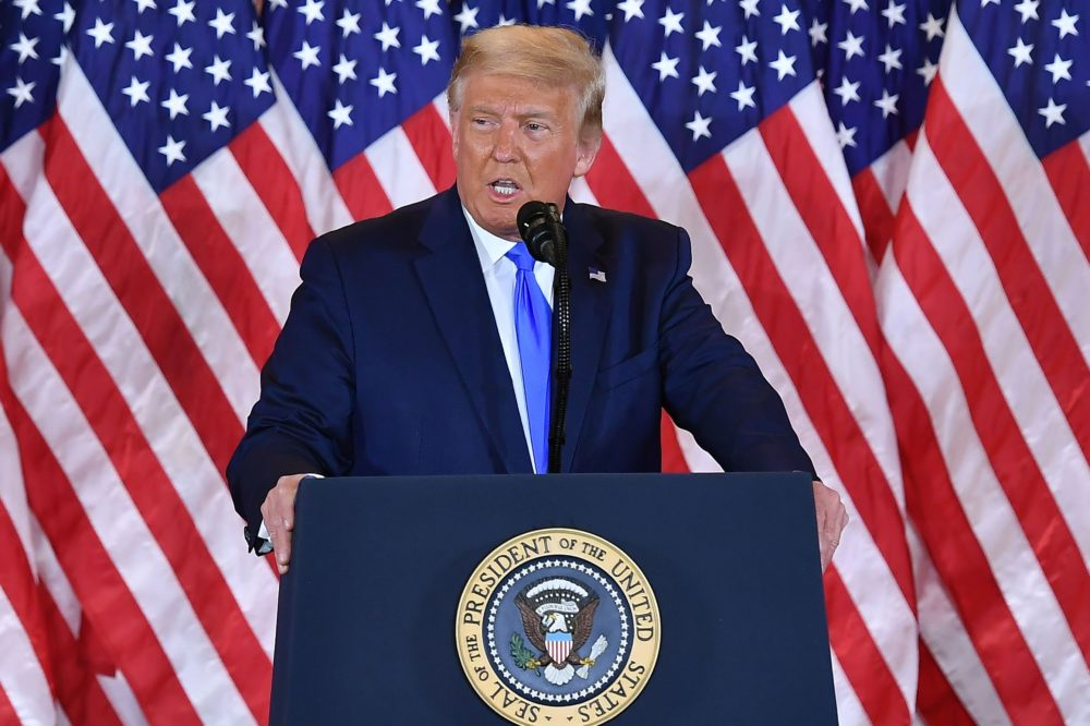 US President Donald Trump speaks during election night in the East Room of the White House in Washington, DC, early on November 4, 2020. (Mandel Ngan/AFP via Getty Images)
