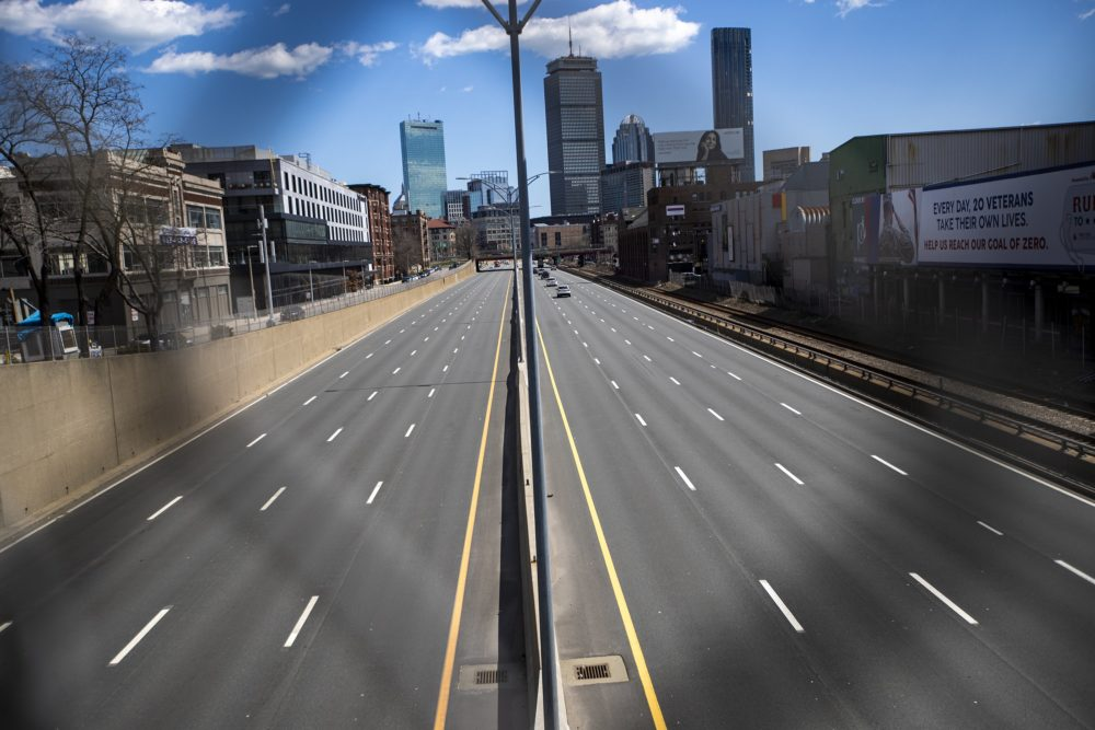 Traffic was very minimal midday on Tuesday, April 7 in Boston. (Jesse Costa/WBUR)