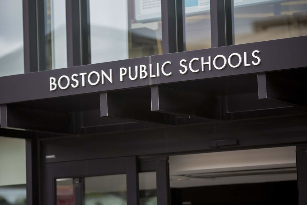 The sign for the Boston Public Schools headquarters in Nubian Square. (Jesse Costa/WBUR)