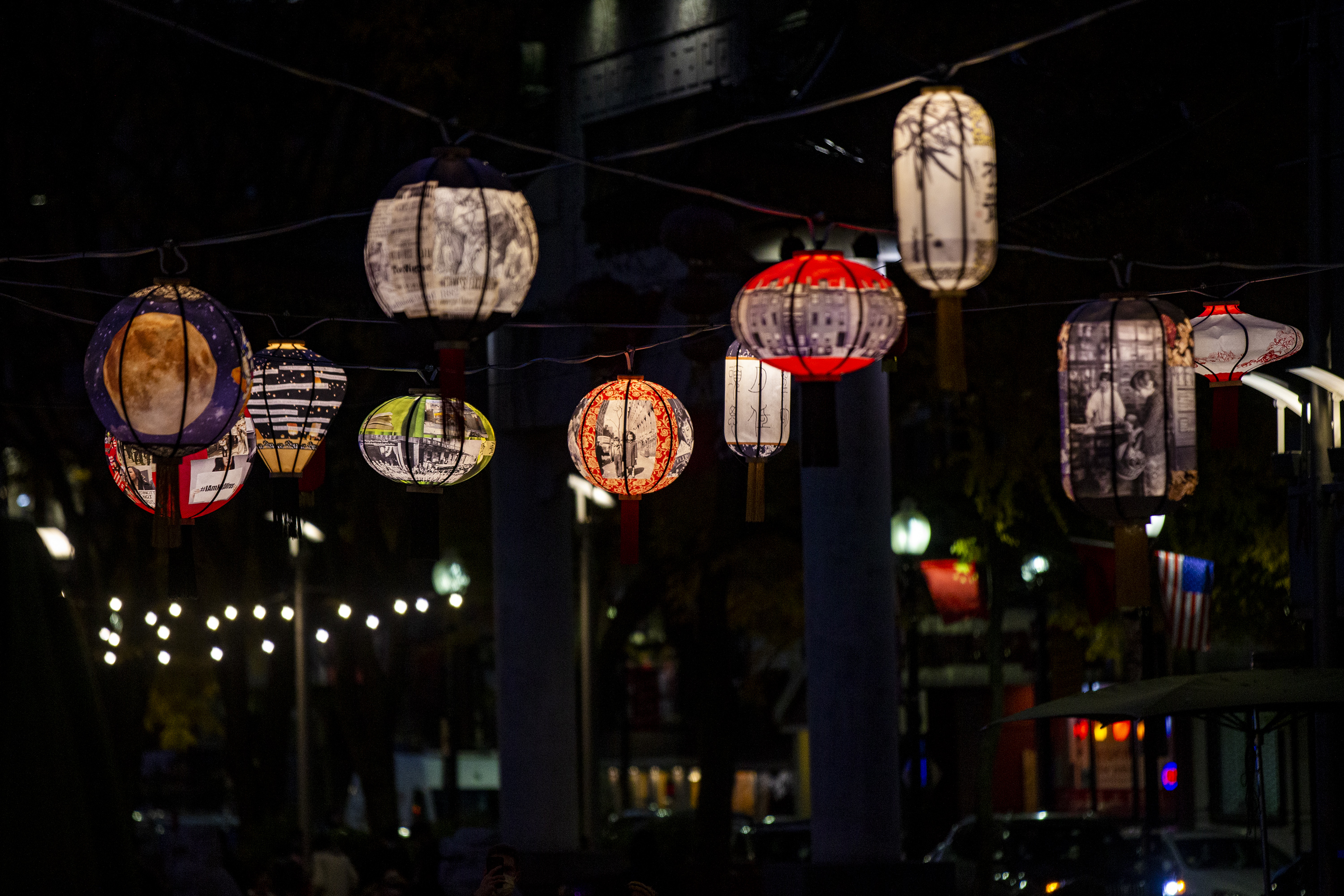 The 'Lantern Stories' art installation by Boston artist Yu-Wen Wu adorned the Rose Kennedy Greenway in Chinatown earlier this year. (Jesse Costa/WBUR)