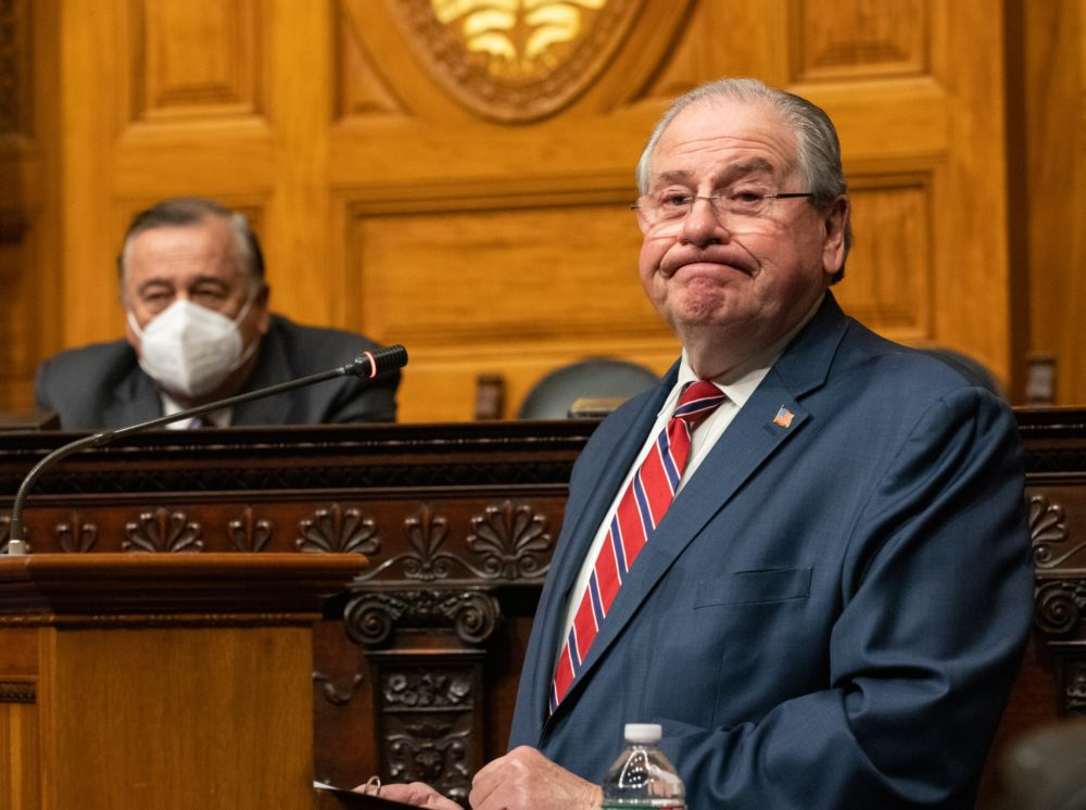 Speaker Robert DeLeo gave his farewell address in the House Chamber on Tuesday afternoon. Sitting behind him was Majority Leader Ron Mariano (left), who is expected to become speaker on Wednesday. (Sam Doran/SHNS)