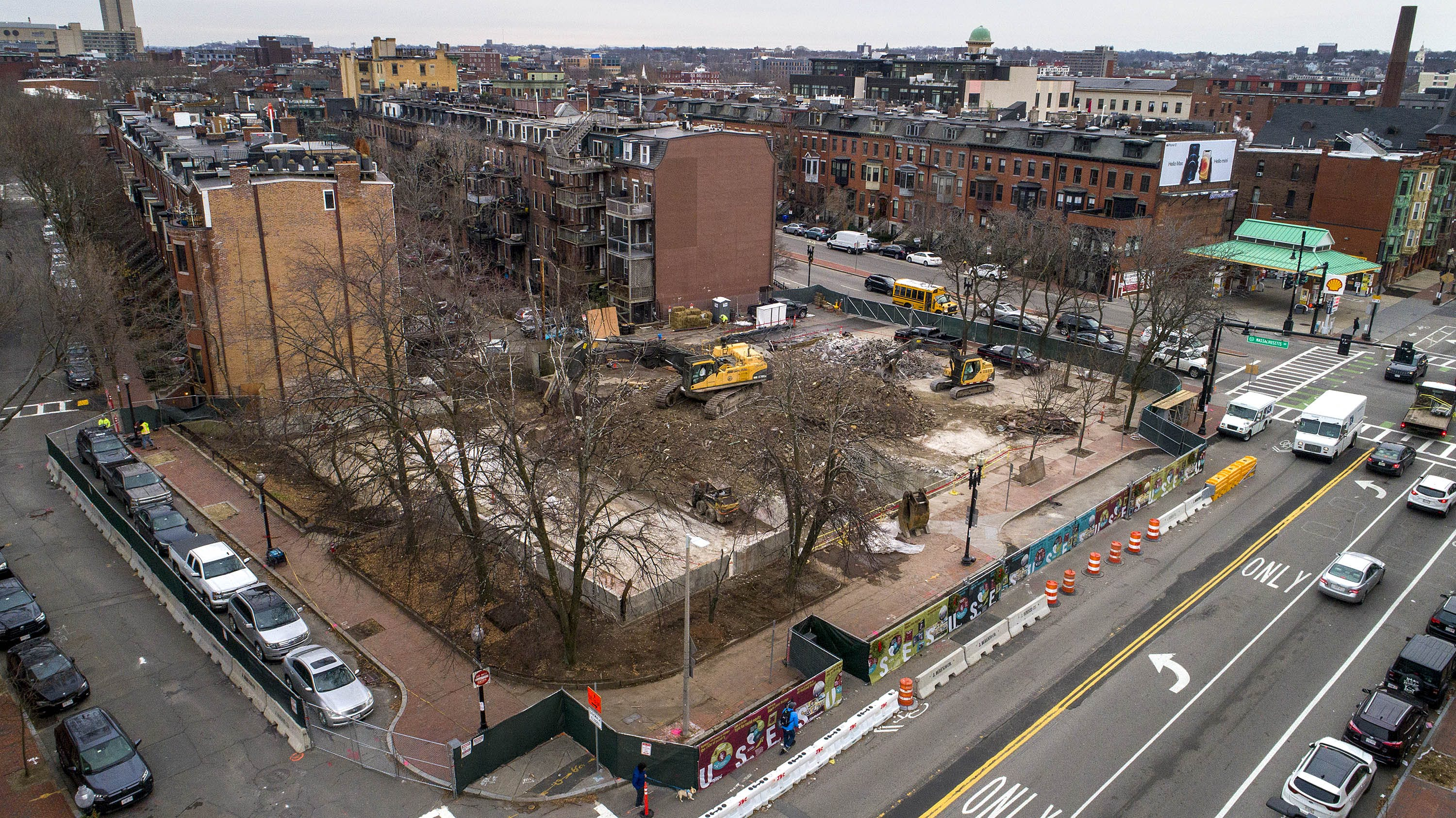The site of the Harriet Tubman House at 566 Columbus Avenue, which is now under development. (Robin Lubbock/WBUR)