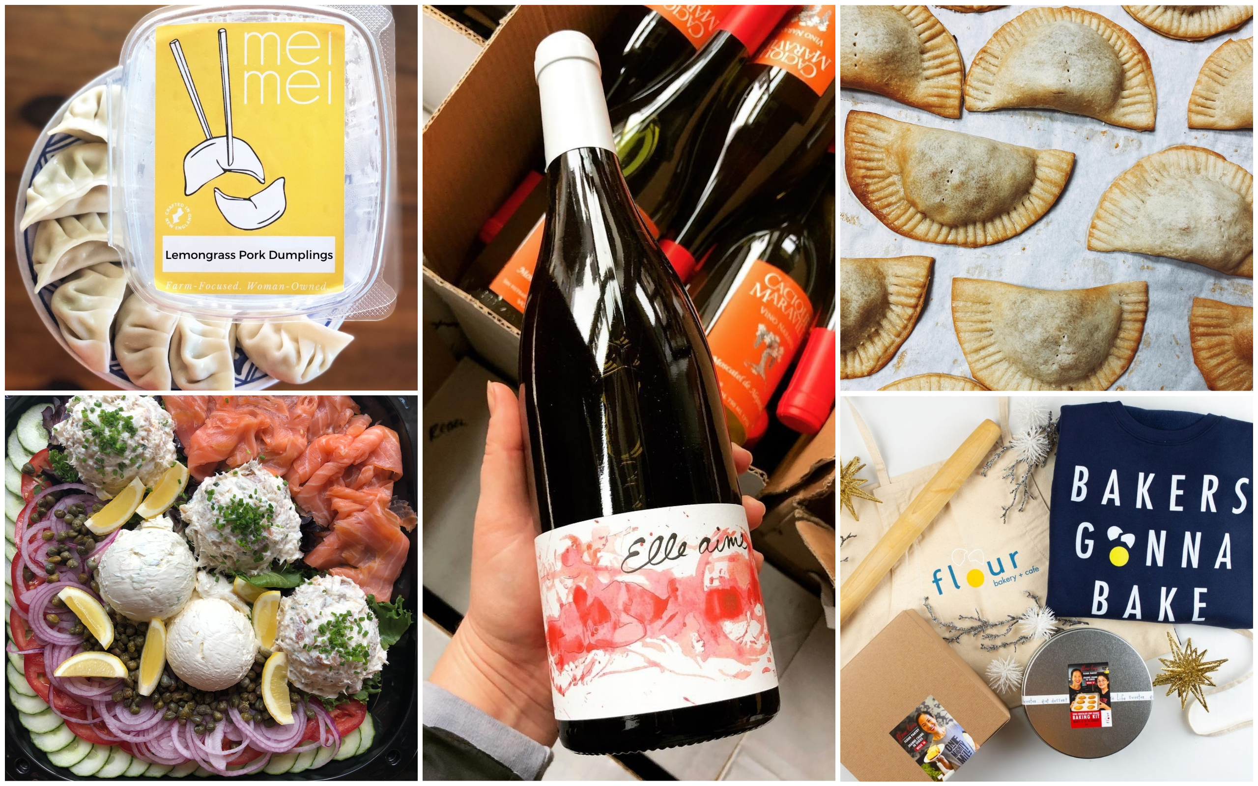 Clockwise from top left: Lemongrass pork dumplings from Mei Mei, a bottle of wine sold at Rebel Rebel, empanadas at Buenas, a collection of giftable items from Flour Bakery + Cafe and a smoked fish platter from Mamaleh's Delicatessen. (Courtesy)
