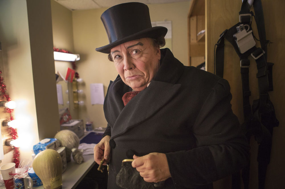 "David Coffee as Scrooge backstage before a performance of ""A Christmas Carol."" (Jesse Costa/WBUR)"
