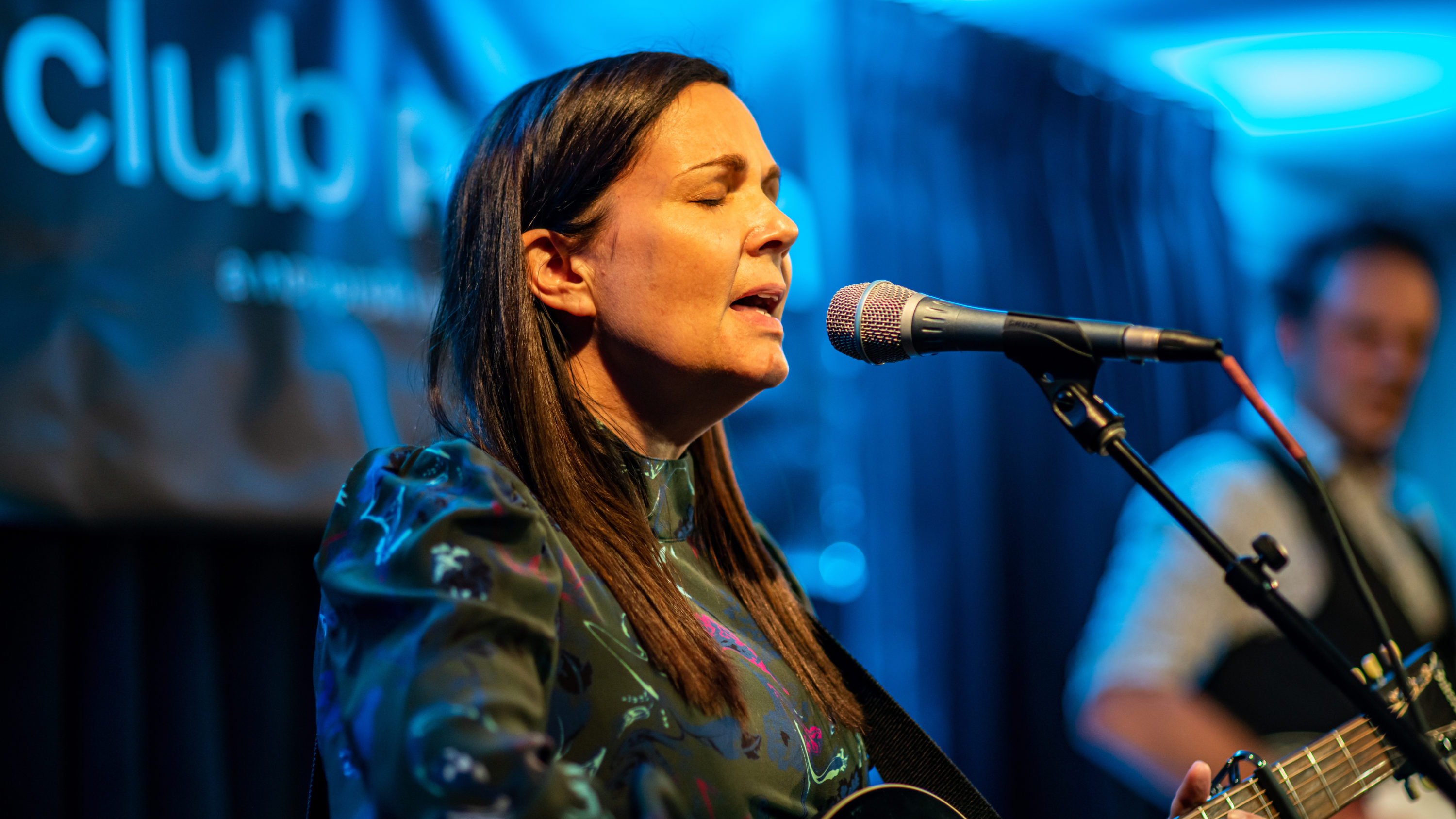 """Singer-songwriter Lori McKenna performing at Club Passim in July during the premiere of her album """"The Balladeer."""" (Courtesy)"""