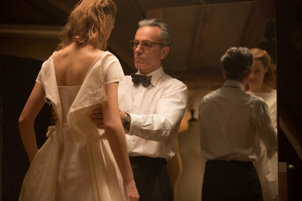 """Vicky Krieps as Alma and Daniel Day-Lewis as Reynolds Woodcock in """"Phantom Thread,"""" one of six films ARTery critic Sean Burns recommends streaming on New Year's Eve. (Courtesy Laurie Sparham/Focus Features)"""