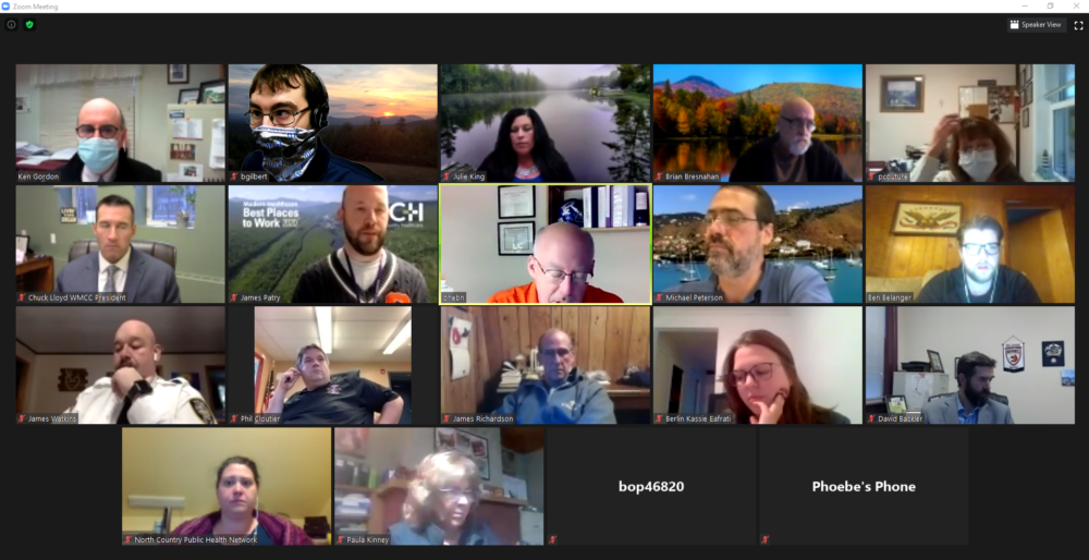 Community, health, and business leaders in the Androscoggin Valley meet daily via Zoom to coordinate COVID-19 response. Credit Courtesy of Ken Gordon