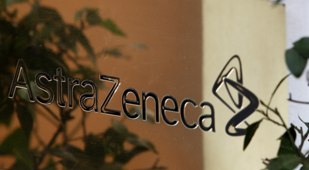 In this Jan. 29, 2009 photo, reflections are seen on a sign outside the global headquarters of AstraZeneca in London. (/Kirsty Wigglesworth/AP)