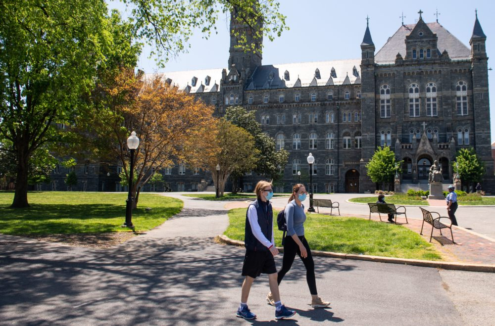 The campus of Georgetown University is seen nearly empty as classes were canceled due to the coronavirus pandemic, in Washington, DC, May 7, 2020. (SAUL LOEB/AFP via Getty Images)