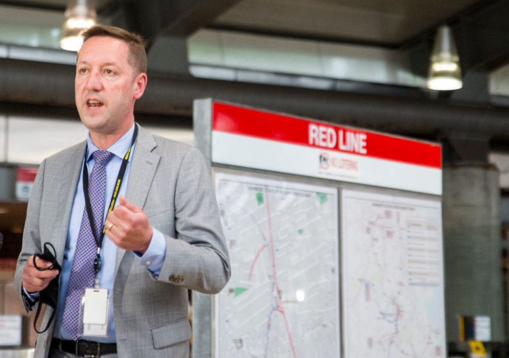 Steve Poftak, General Manager of the MBTA, holds a press conference in the lobby of the Ashmont Red Line station in Boston's Dorchester on June 22, 2020. (Blake Nissen for The Boston Globe via Getty Images)