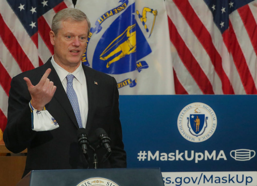 Gov. Charlie Baker speaks at the Gardner Auditorium in the Massachusetts State House in Boston on Nov. 3, 2020.(Matthew J. Lee/The Boston Globe via Getty Images)