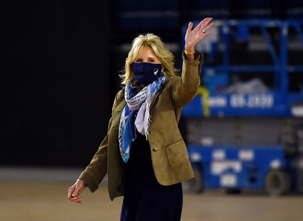 Jill Biden arrives to join Operation Gratitude to assemble care packages for deployed U.S. troops, on December 10, 2020, in Washington, DC.  (Olivier Douliery/AFP)
