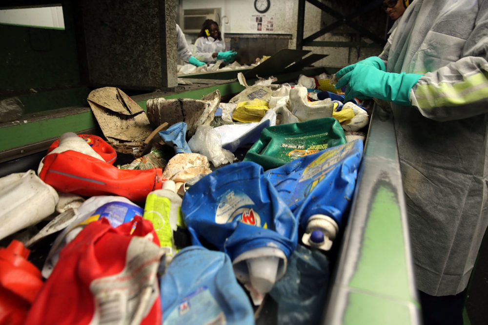Recycling is sorted at the Sims Municipal Recycling Facility, an 11-acre recycling center on the Brooklyn waterfront on April 22, 2015 in New York City. (Spencer Platt/Getty Images)