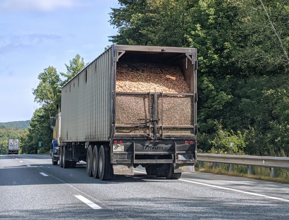 Wood chips on their way to a New Hampshire biomass facility. (Annie Ropeik, NHPR)