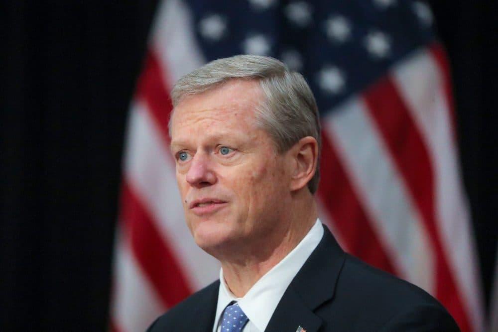 Gov. Charlie Baker speaks in November. (Matthew J. Lee/The Boston Globe via Getty Images)