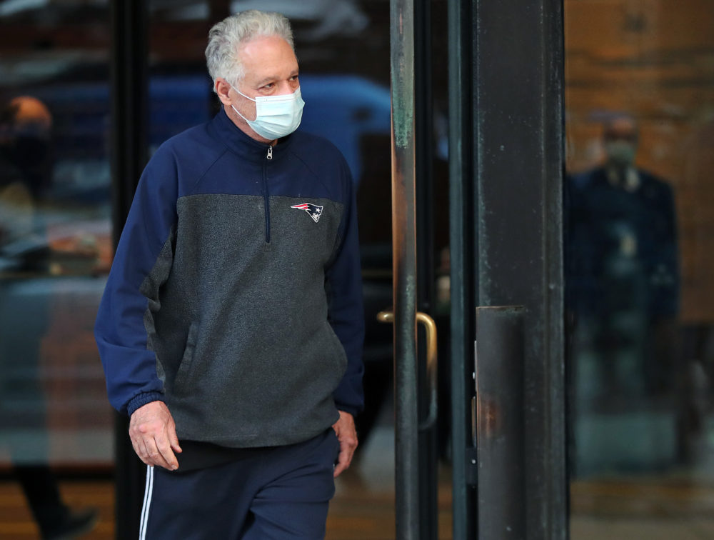 Former Harvard University fencing coach Peter Brand leaves the Moakley Federal Courthouse in Boston after being arraigned and freed on bail on Nov. 16. (Jim Davis/The Boston Globe via Getty Images)
