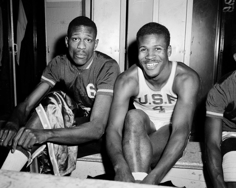 In this March 1, 1956, file photo, K.C. Jones, captain of the University of San Francisco Dons, right, is shown with teammate Bill Russell in San Francisco. (Robert Houston/AP)