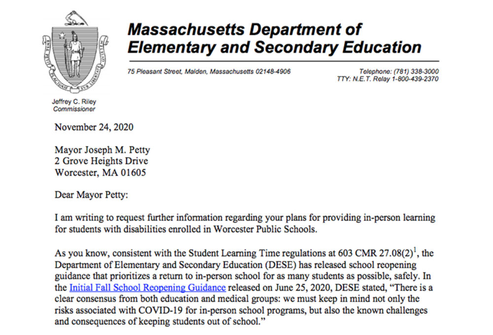 Screenshot of a portion of the letter sent to Worcester Public Schools.