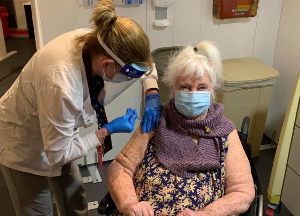World War II veteran Margaret Klessens, 96, was vaccinated for COVID-19 Monday at the Edith Nourse Rogers Memorial Veterans Hospital at the VA in Bedford. (Courtesy VA Bedford Healthcare System)