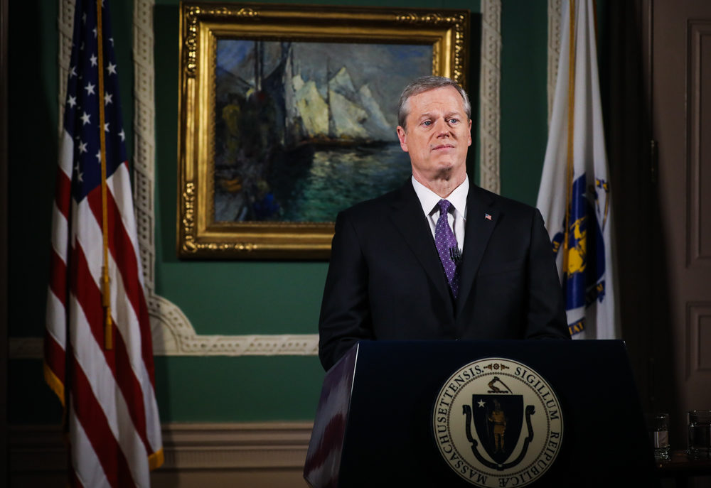 Gov. Charlie Baker delivers his televised State of The Commonwealth address from his ceremonial State House office. (Erin Clark/Boston Globe/Pool via SHNS)