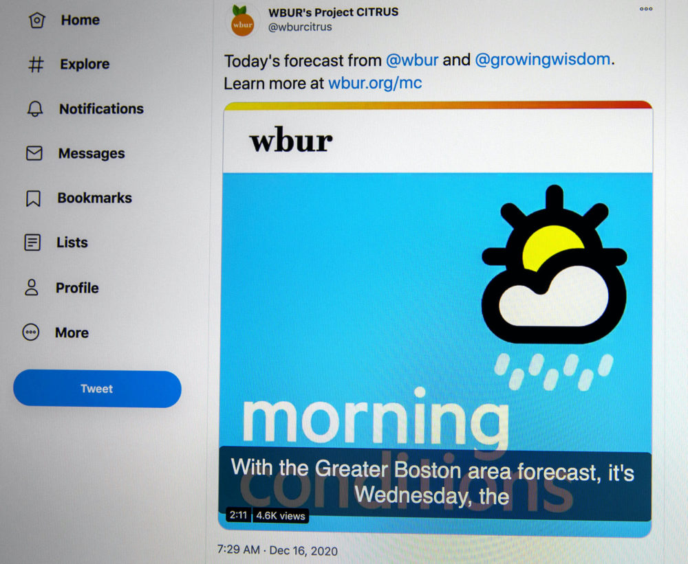 You can convert short audio into single-frame videos that can be tweeted. (Robin Lubbock/WBUR)