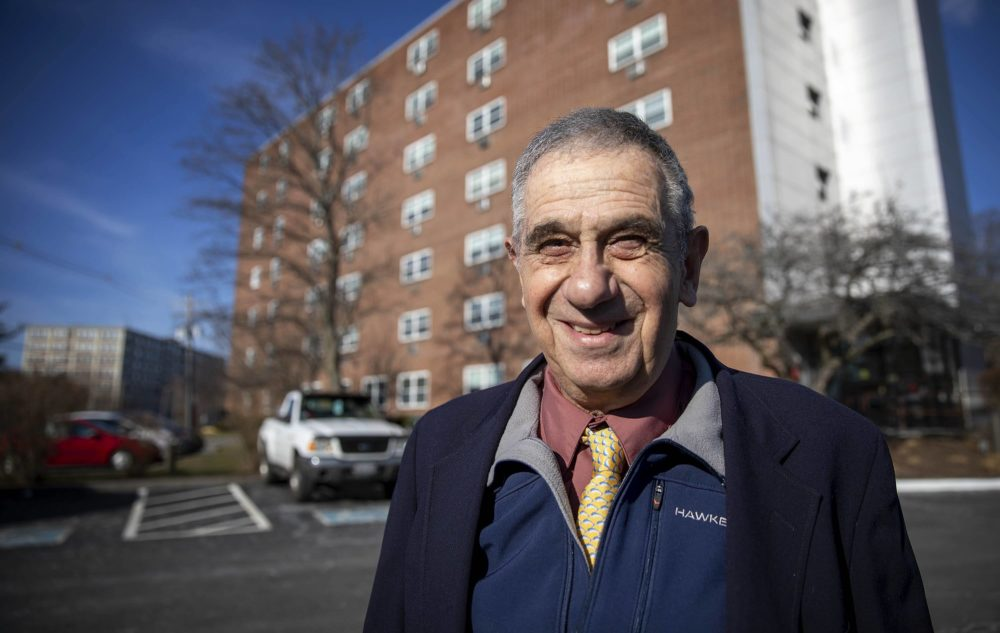 Jerry Halberstadt outside his low-income senior housing building in Peabody. (Robin Lubbock/WBUR)