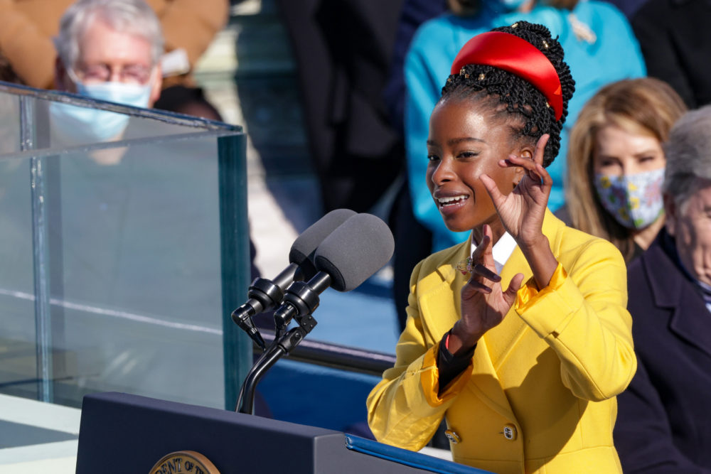 Youth Poet Laureate Amanda Gorman speaks at the inauguration. (Alex Wong/Getty Images)