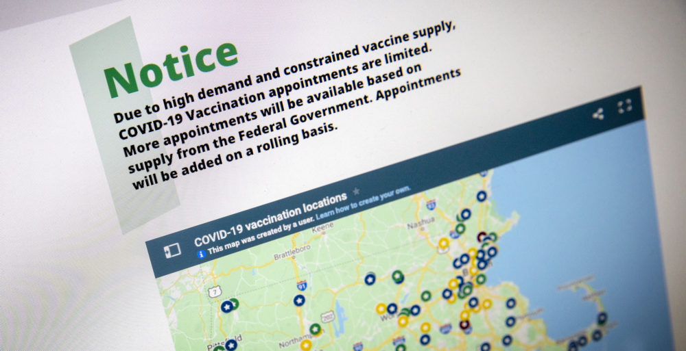 A notice on the state's COVID-19 vaccination website on Wednesday, Jan. 27, alerts users that appointments are limited. (Robin Lubbock/WBUR)