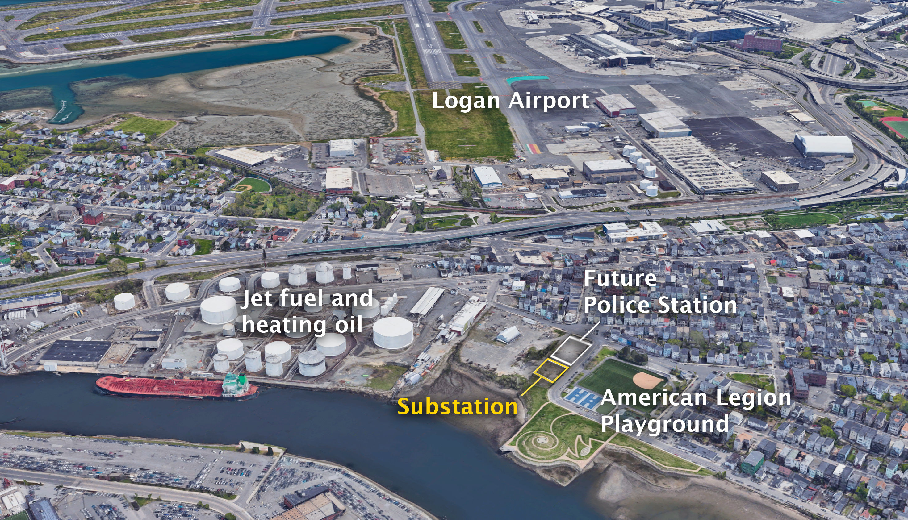 The location of the proposed electrical substation in East Boston (Jesse Costa/WBUR and Google Earth)