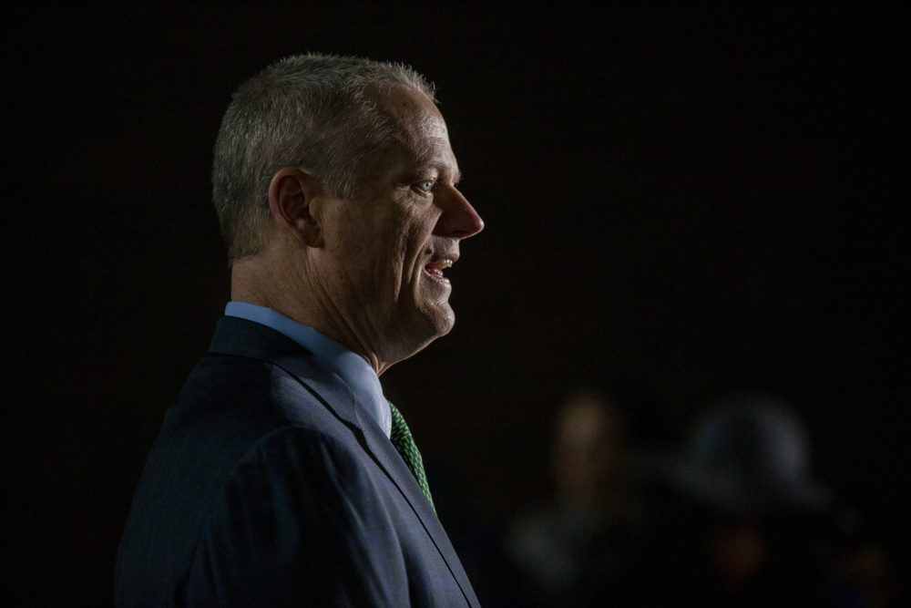 In this file photo from March 13, 2020, Gov. Baker speaks during Boston Mayor Marty Walsh's press conference to announce the postponement of the Boston Marathon. (Jesse Costa/WBUR)