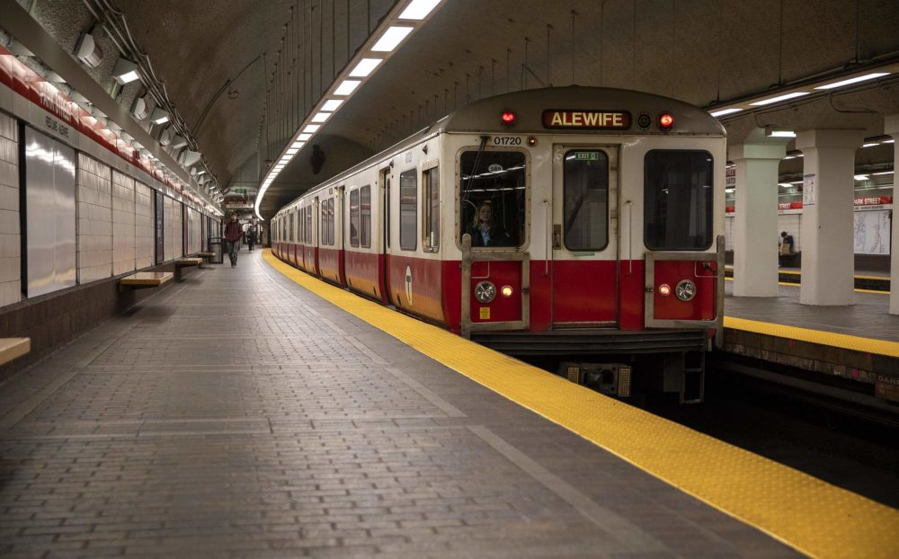 A Red Line MBTA train pulls up to a Park Street platform. (Robin Lubbock/WBUR)